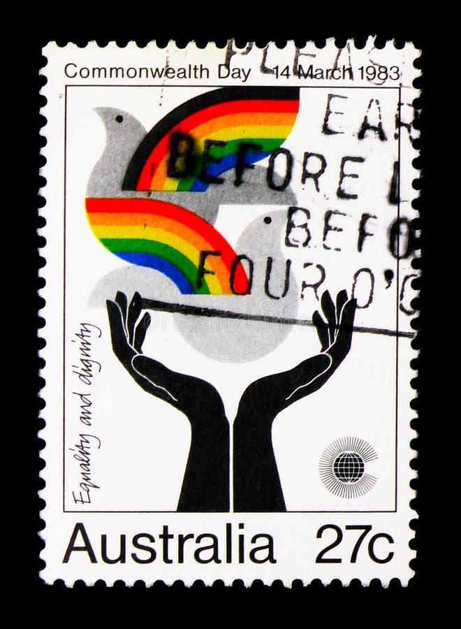 Dia de comunidade - igualdade e dignidade, serie, cerca de 1983 imagens de stock
