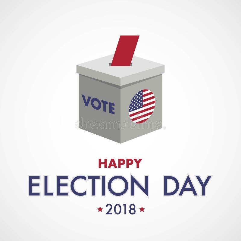 Dia de eleição feliz O voto EUA, fá-lo contar ilustração stock