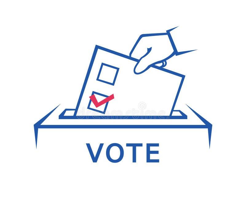 Dia de eleição, mão que guarda o formulário da cédula ilustração do vetor