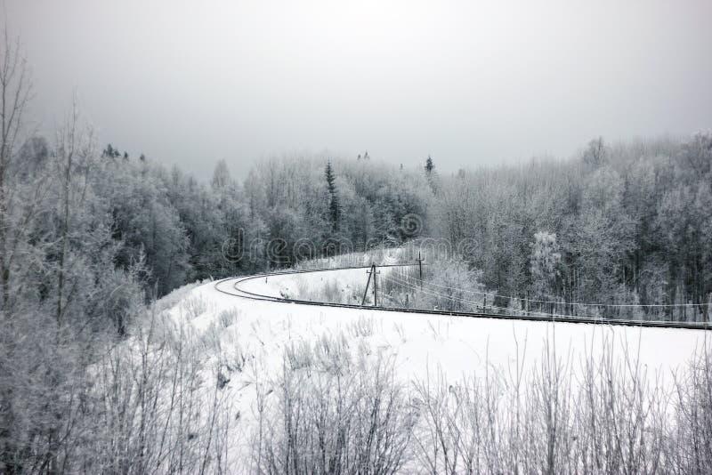 Dia de Frosrty Paisagem do inverno da natureza da neve Vista da estrada de ferro de enrolamento na floresta imagens de stock