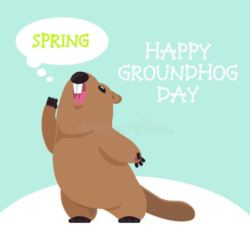 Dia de Groundhog do cartão ilustração do vetor