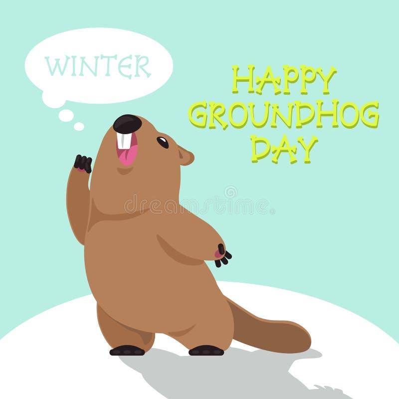 Dia de Groundhog feliz ilustração do vetor