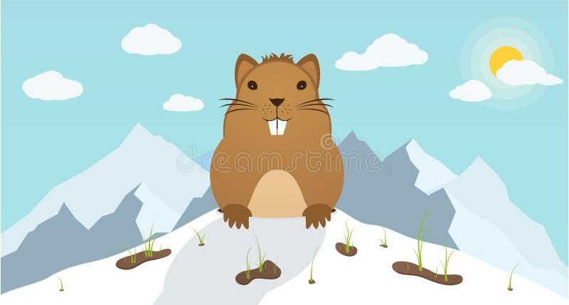 Dia de Groundhog Marmota escalada fora do furo em montanhas do fundo