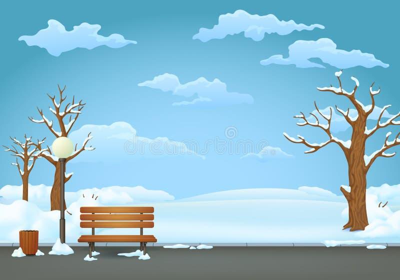 Dia de inverno no parque Banco de madeira com a lâmpada do balde do lixo e de rua ilustração royalty free
