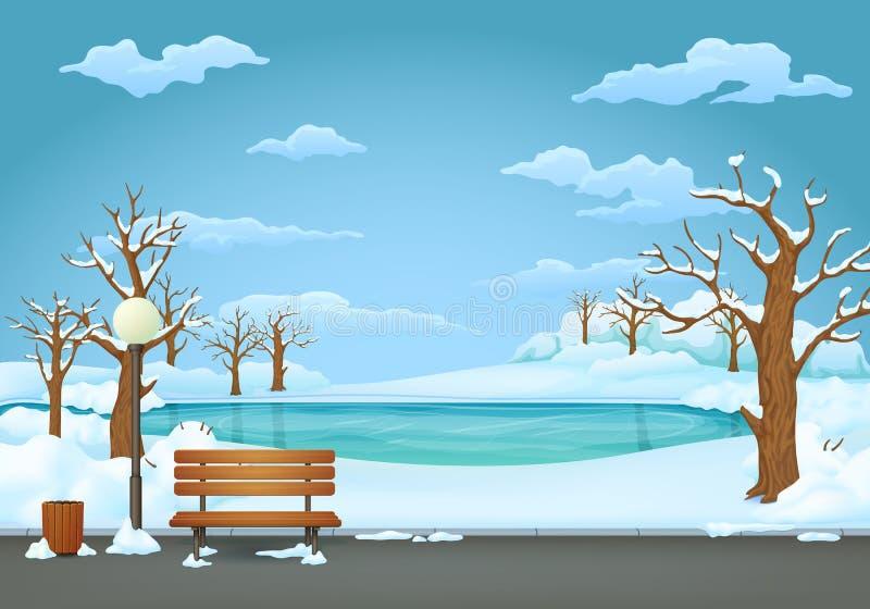 Dia de inverno no parque Banco de madeira com a lâmpada do balde do lixo e de rua Lago congelado no fundo ilustração stock