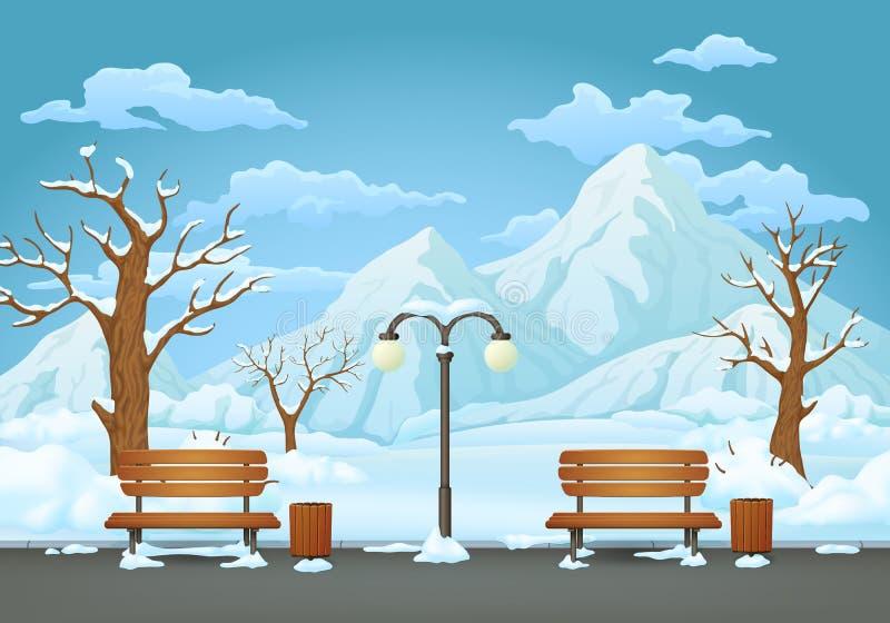 Dia de inverno no parque, em dois bancos com baldes do lixo e em lâmpada de rua com montanhas nevados ilustração royalty free