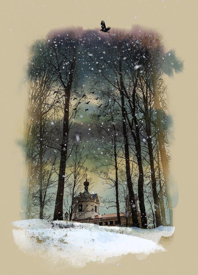 Dia de inverno, parque de Oranienbaum, St Petersburg, Rússia ilustração stock