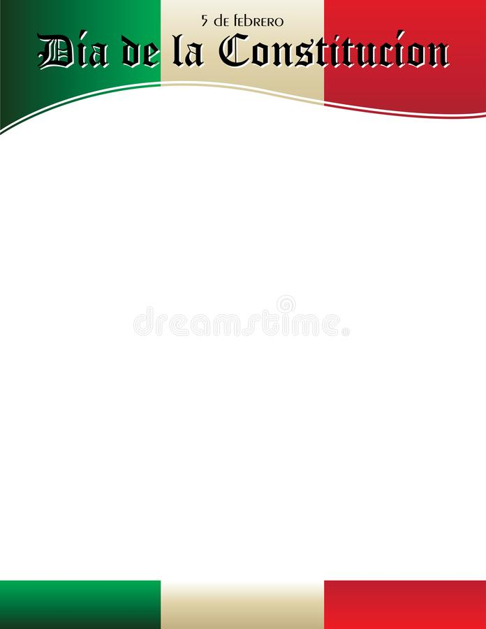 Dia de la Constitucion Poster Template avec le drapeau mexicain illustration stock