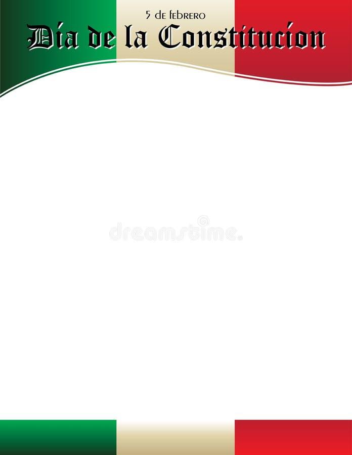 Dia de la Constitucion Poster Template con la bandera mexicana stock de ilustración
