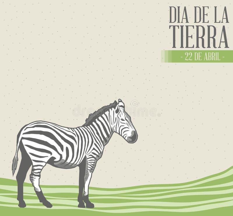 Dia de la tierra - Earth Day spanish text illustration with vintage background. Dia de la tierra - Earth Day spanish text, vector concept illustration, april 22 stock illustration
