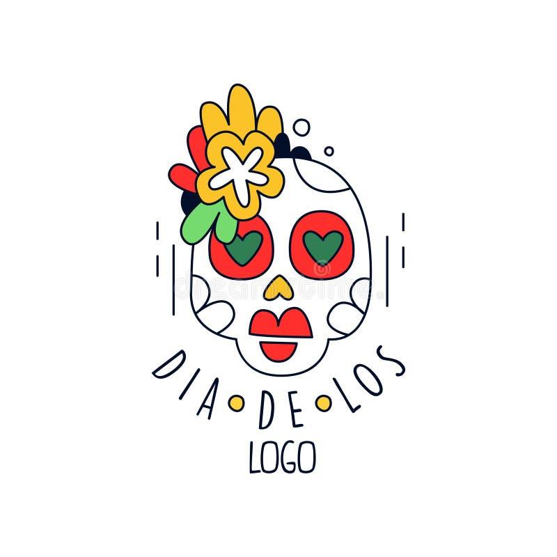 Dia de Los logo, μεξικάνικη ημέρα του νεκρού στοιχείου σχεδίου διακοπών με το κρανίο ζάχαρης, έμβλημα κομμάτων, αφίσα, ευχετήρια  ελεύθερη απεικόνιση δικαιώματος