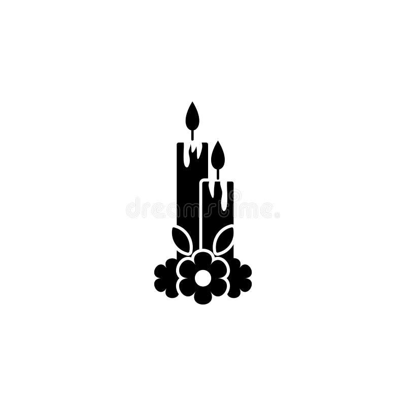 Dia de los muertos蜡烛象 天死的象的元素流动概念和网应用程序的 详细的Dia de los muertos蜡烛ico 向量例证