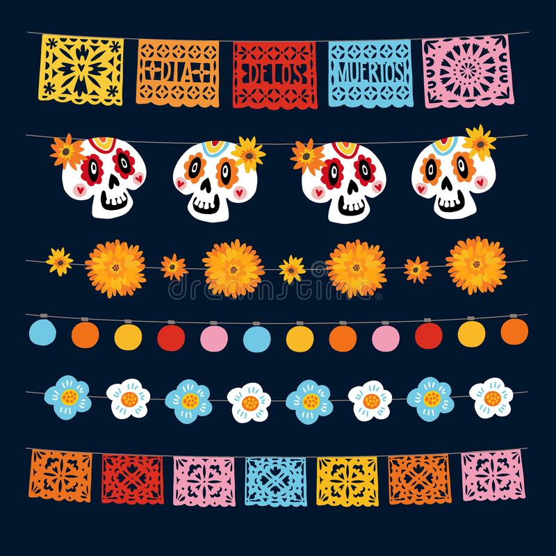 Dia de los Muertos,墨西哥死亡日,灯火通明,彩旗,纸皮画,万寿菊和 库存例证