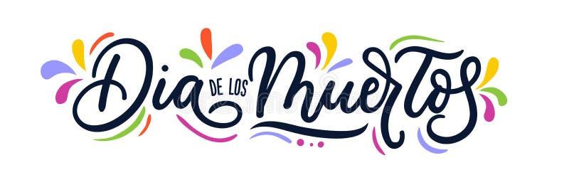 Dia de Los Muertos επιγραφή εγγραφής ευχετήριων καρτών χαιρετισμός διανυσματική απεικόνιση