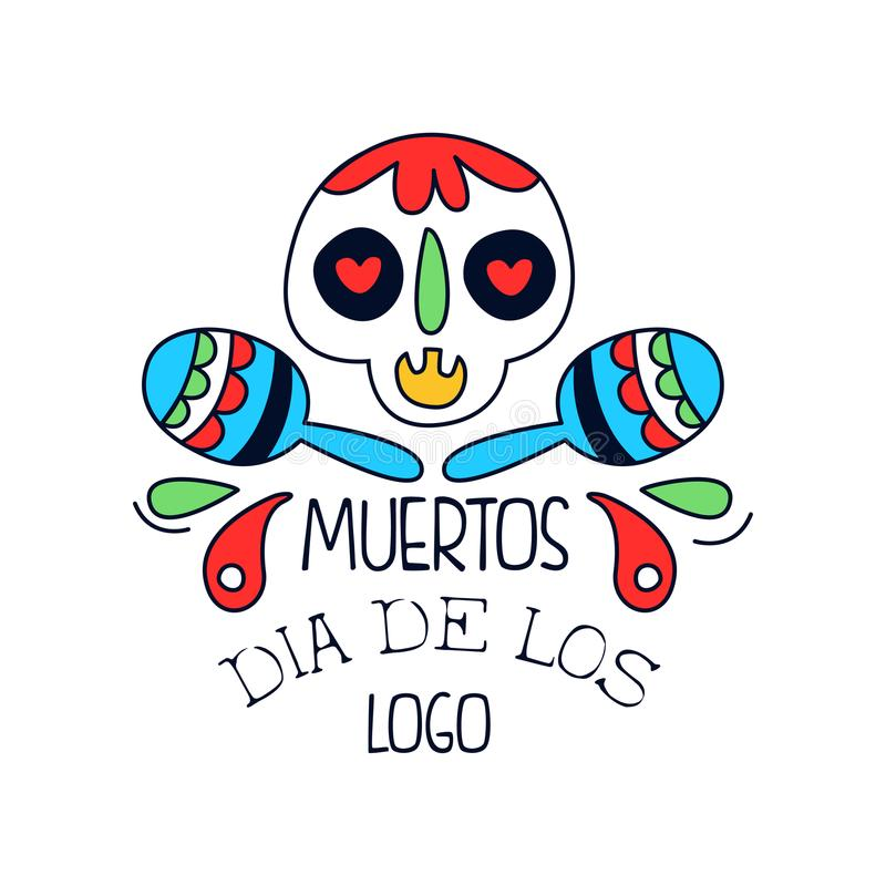 Dia de Los Muertos λογότυπο, μεξικάνικη ημέρα της νεκρής αφίσας διακοπών με το κρανίο ζάχαρης και maracas, έμβλημα κομμάτων διακο ελεύθερη απεικόνιση δικαιώματος