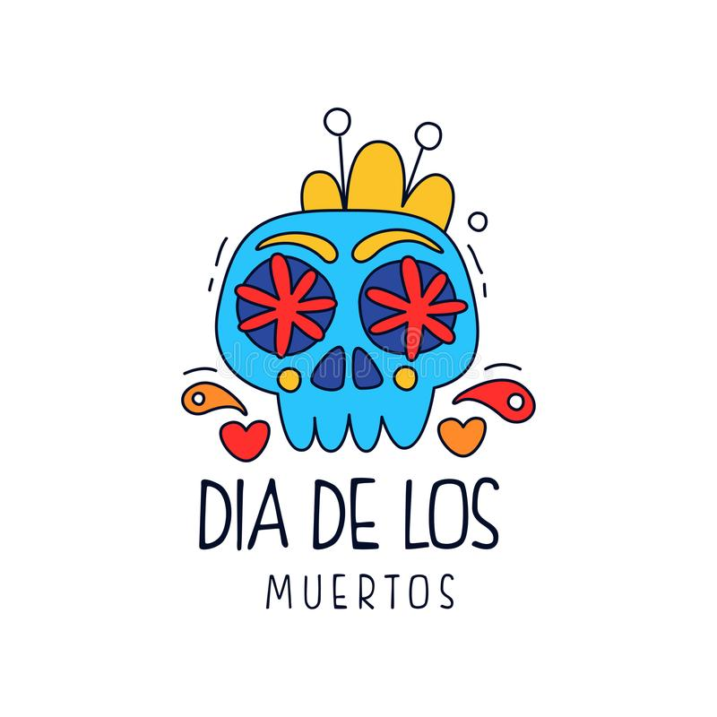 Dia de Los Muertos λογότυπο, παραδοσιακή μεξικάνικη ημέρα του νεκρού στοιχείου σχεδίου, έμβλημα κομμάτων διακοπών, ευχετήρια κάρτ διανυσματική απεικόνιση