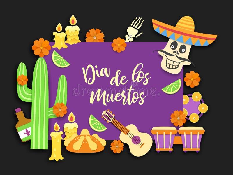 Dia de Los Muertos Ημέρα των νεκρών Μεξικάνικη γιορτή της ενθύμησης των νεκρών Εθνικό λατινικό υπόβαθρο καρναβαλιού r διανυσματική απεικόνιση
