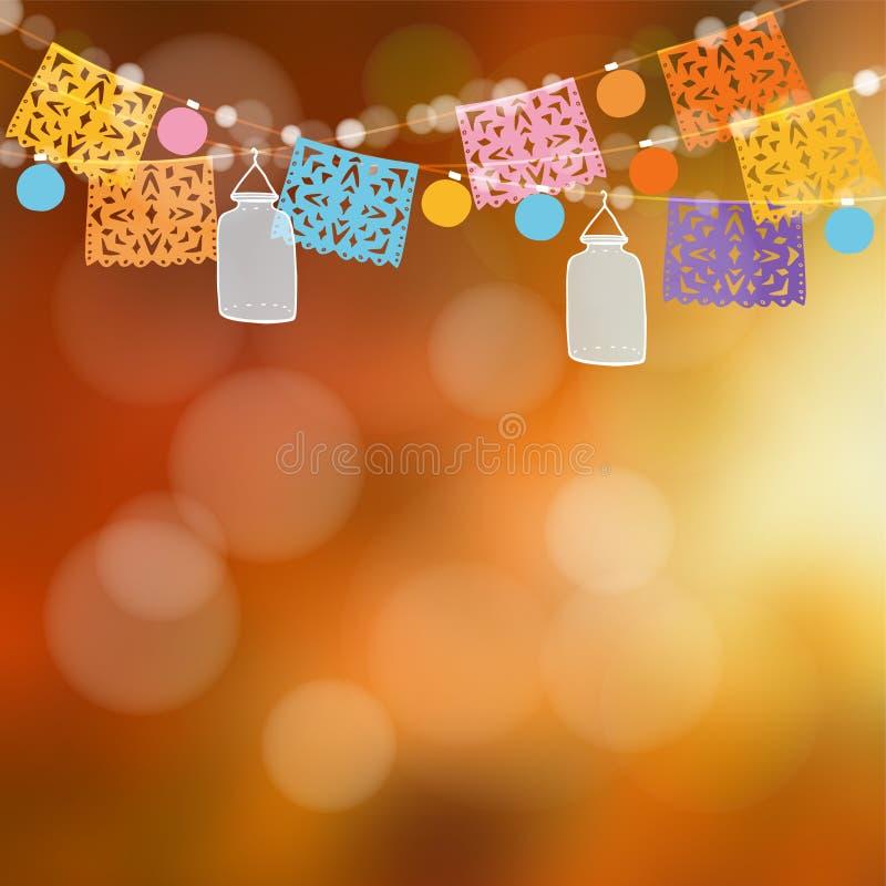 Dia de los Muertos или карточка хеллоуина Мексиканский день умерших Украшение приём гостей в саду иллюстрация цветков предпосылки бесплатная иллюстрация