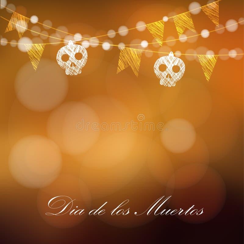 Dia de los muertos (死者的天)或万圣夜卡片,邀请 向量例证