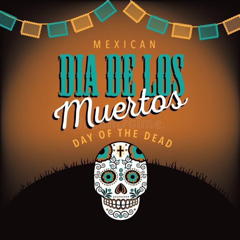Dia de los Muertos avec le crâne de sucre illustration de vecteur