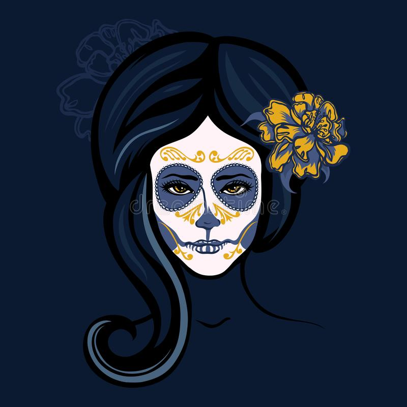 Girl with flowers in her hair and makeup to the Mexican holiday Day of the Dead. stock illustration