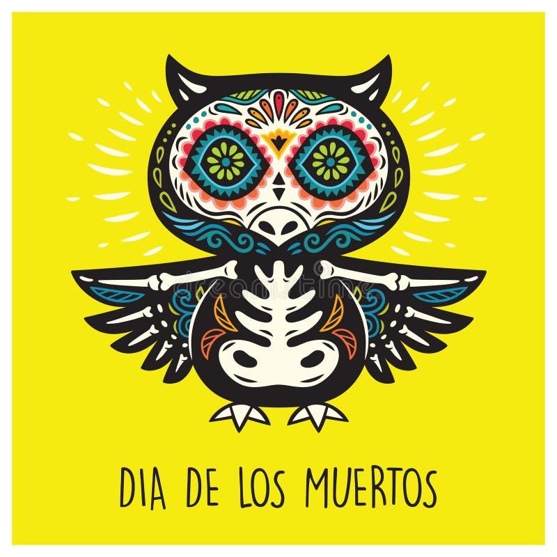 Dia de Los Muertos Carte de voeux avec des hiboux de crâne de sucre illustration libre de droits