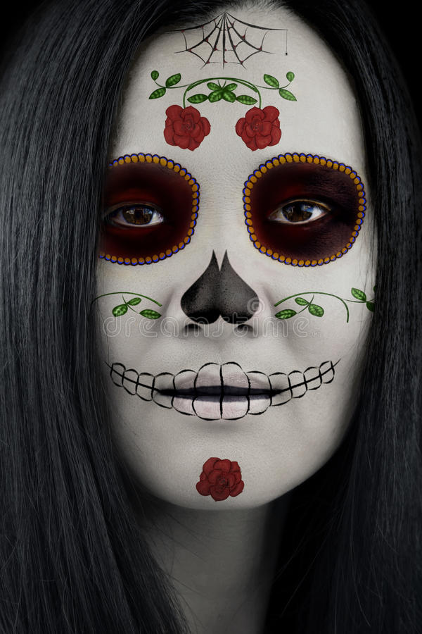 dia de los muertos catrina sugar skull makeup stock photo image of beauty muertos 61104504. Black Bedroom Furniture Sets. Home Design Ideas