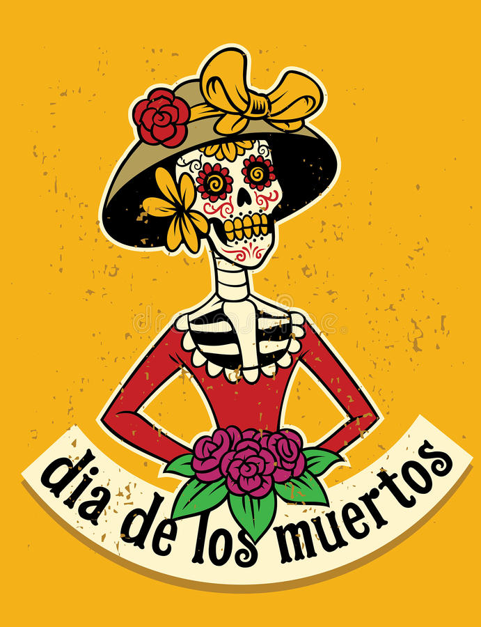 Dia De Los Muertos czaszka ilustracja wektor