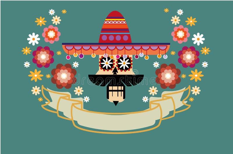 Dia de los Muertos, día del cartel muerto Cráneo mexicano del azúcar con una decoración del sombrero con las flores y el arte col libre illustration