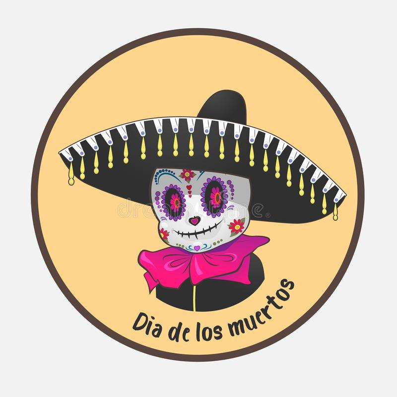 Dia DE Los Muertos de dag van de doden een leuk dood karakter stock illustratie