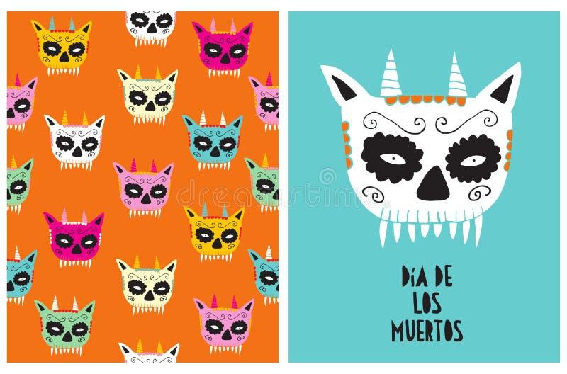 Dia DE los Muertos - Dag van de Doden, Hand Getrokken Vectorillustraties voor Halloween-Decoratie stock illustratie