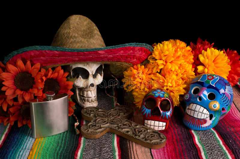Dia De Los Muertos - Day of The Dead Altar. Traditional Dia De Los Muertos (Day of the Dead) altar/offering. With marigold & red sunflowers, colorful lumineras stock photography