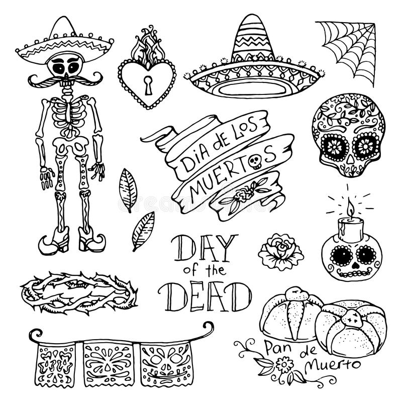 Day of the Dead hand sketched doodles royalty free illustration