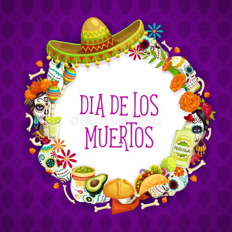 Mexican Day of Dead signs, lettering and frame. Dia de los muertos day of dead holiday signs in round frame. Vector Mexican symbols and lettering, sombrero hat royalty free illustration