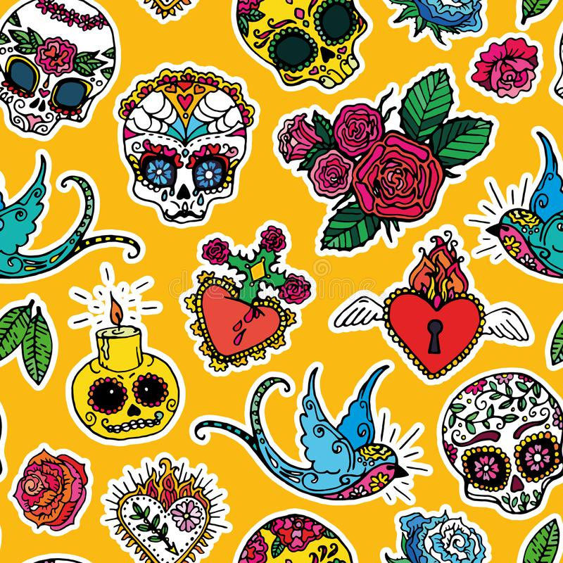 Day of the Dead seamless pattern stock illustration