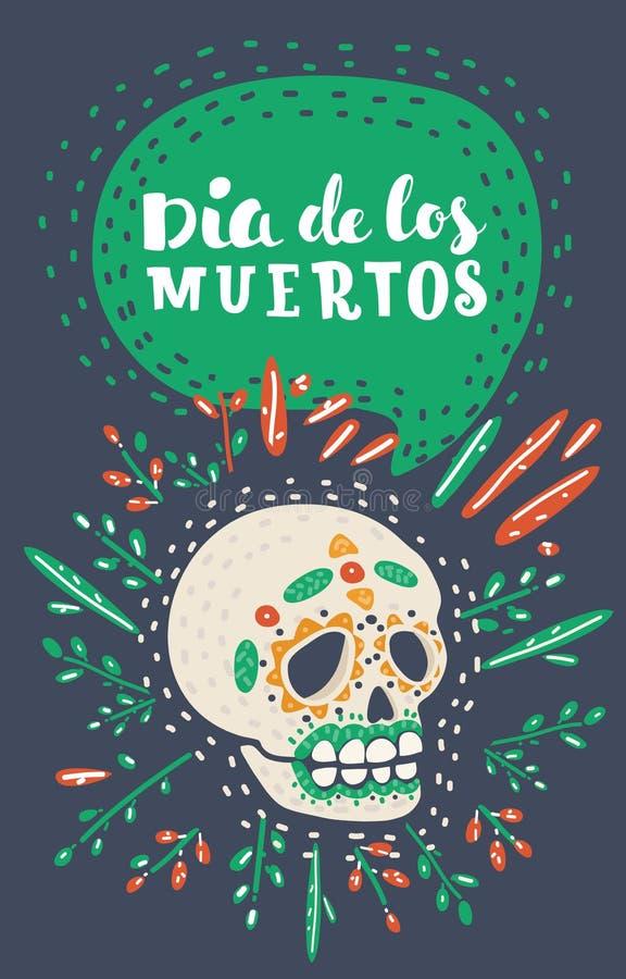 Dia de los Muertos Day of the Dead sugar skull. Mexican Dia de los Muertos Day of the Dead sugar skull. Calavera on Halloween. Vector cartoon illustration in vector illustration
