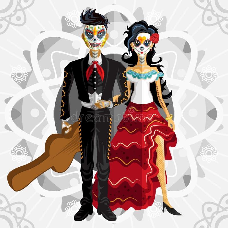 Dia De Los Muertos Day Of den döda bruden stock illustrationer
