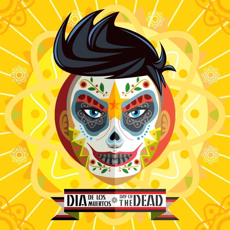 Dia De Los Muertos Day Of la pintura muerta de la cara del cráneo stock de ilustración