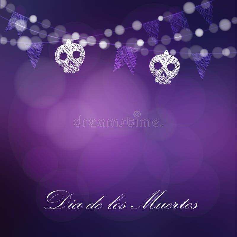 Dia de Los Muertos, dia do cartão dos mortos ou do Dia das Bruxas, convite ilustração stock