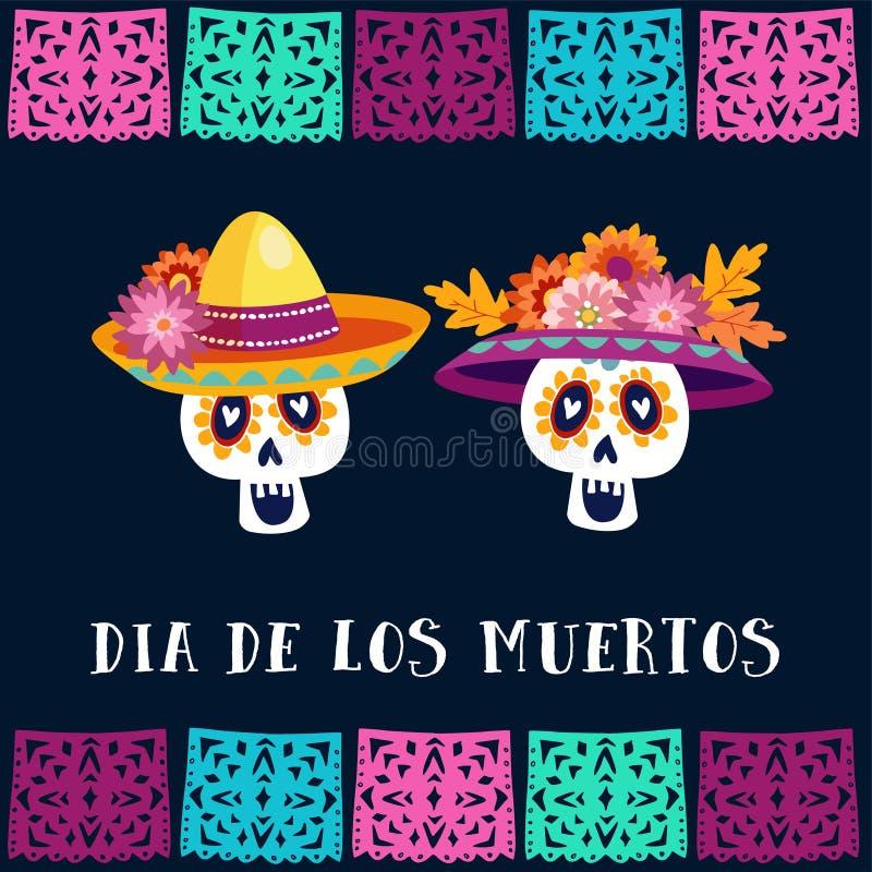 Dia De Los Muertos, dzień Nieżywy lub Halloweenowy kartka z pozdrowieniami, zaproszenie Partyjna dekoracja z cukrowymi czaszkami  royalty ilustracja