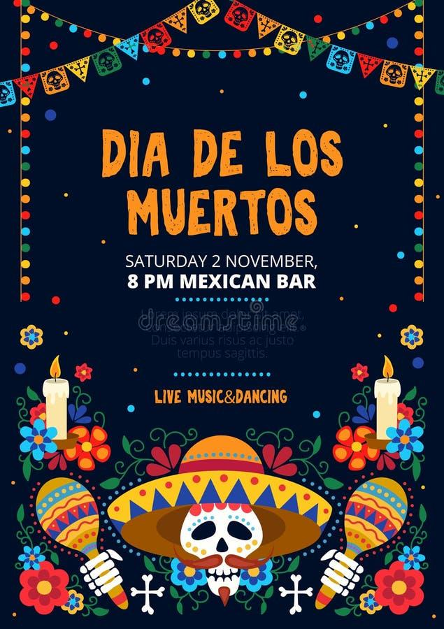 Dia de los muertos festive invitation card design. Vector illustration. Sugar skull in sombrero with maracas and floral design for invitational Mexican day of vector illustration
