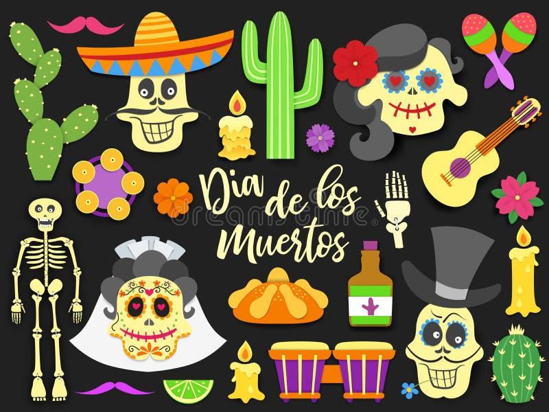 Dia De Los Muertos Giorno dell'insieme di elementi messicano tradizionale morto di festa La carta ha tagliato le icone piane di s royalty illustrazione gratis
