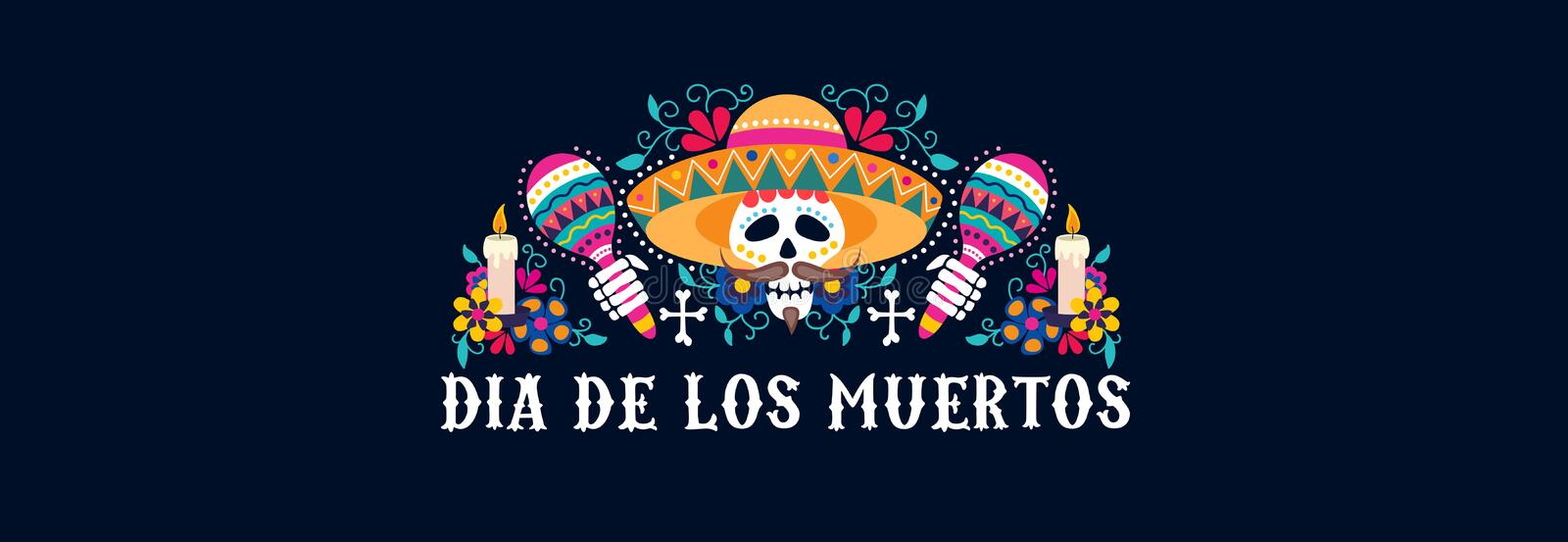 Dia de los muertos greeting card festive design. Vector illustration. Mexican day of dead banner with skull in sombrero and maracas with floral composition flat vector illustration