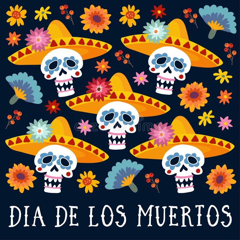 Dia de los Muertos greeting card, invitation. Mexican Day of the Dead. Decorative skulls with sombrero hat, mums royalty free illustration