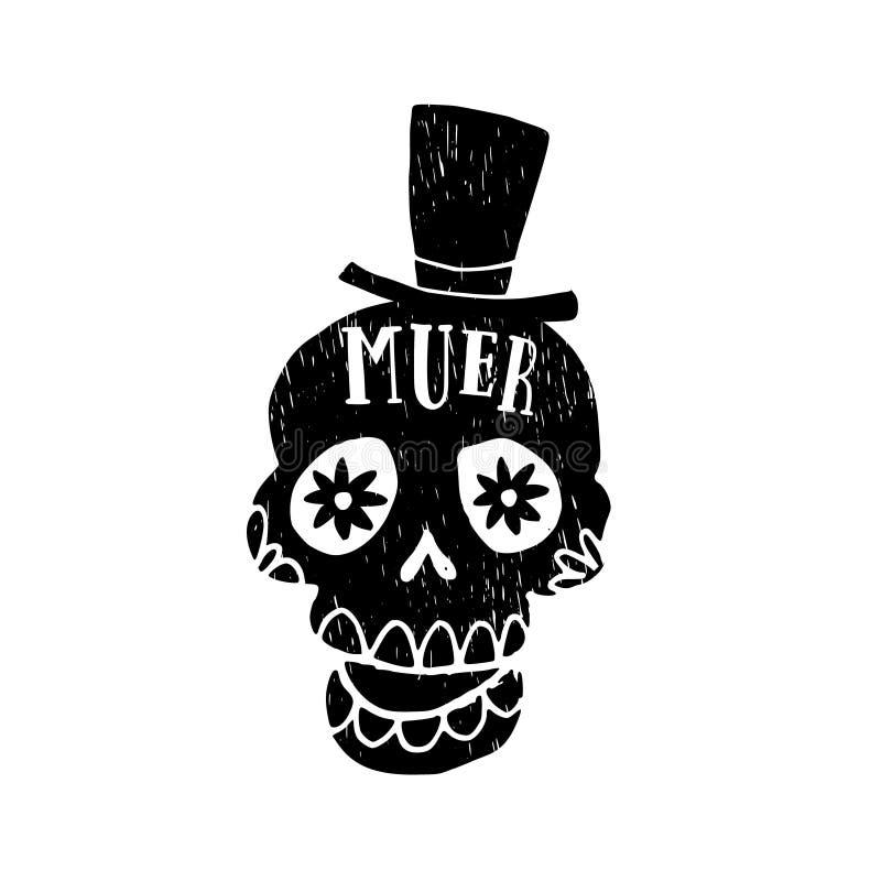 Dia de Los Muertos greeting card, invitation. Mexican Day of the Dead. Grunge black orrnamental skull with hat. Hand drawn isolate. Dia de Los Muertos greeting vector illustration