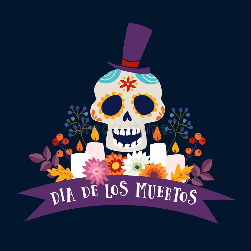 Dia de Los Muertos greeting card, invitation. Mexican Day of the Dead. Ornamental sugar skull with hat, ribbon banner. Candles and flowers Hand drawn vector illustration