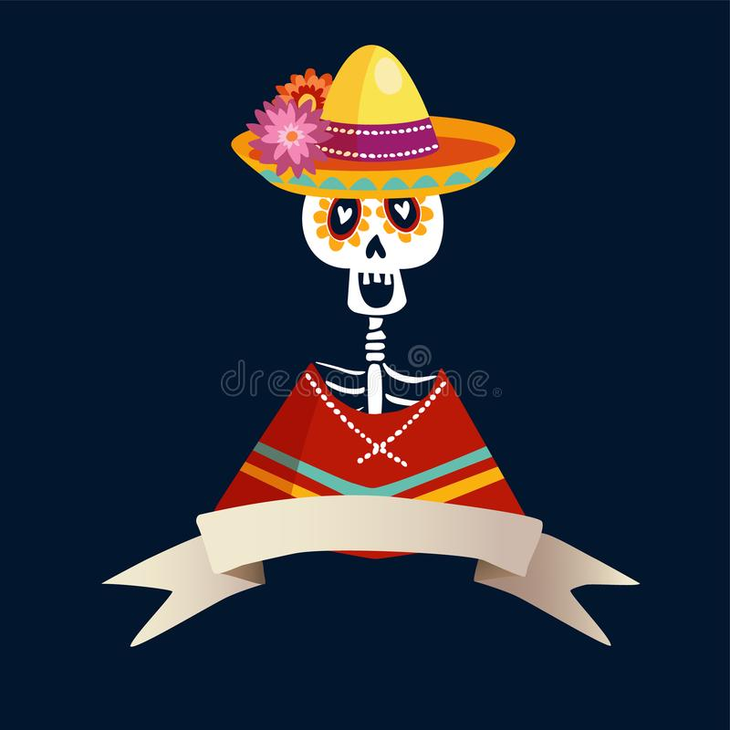 Dia de Los Muertos greeting card, invitation. Mexican Day of the Dead. Skeleton in poncho and with sombrero hat. Ornamental skull. vector illustration
