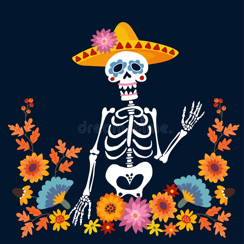 Dia de Los Muertos greeting card, invitation. Mexican Day of the Dead. Skeleton with sombrero hat and floral frame vector illustration