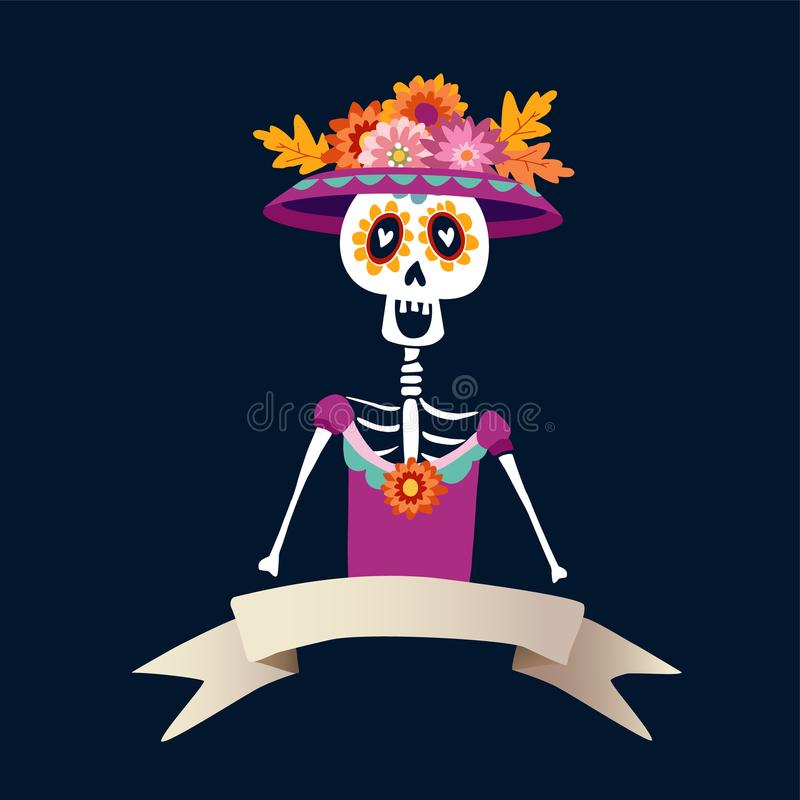 Dia de Los Muertos greeting card, invitation. Mexican Day of the Dead. Skeleton woman with flowers. Ornamental skull. Hand drawn v stock illustration
