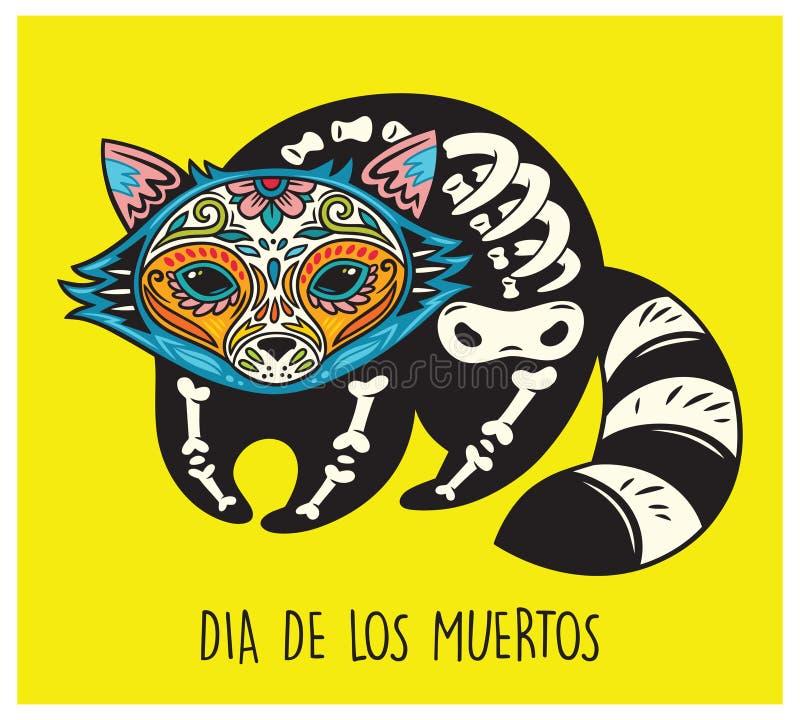 Dia De Los Muertos. Greeting Card With Sugar Skull Raccoon Stock ...